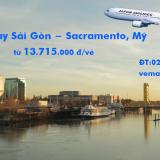 Vé máy bay Sài Gòn Sacramento, California, Mỹ (SGN – SMF) từ 13.715k