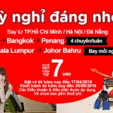Air Asia khuyến mãi TPHCM đi Bangkok  Kuala Lumpur chỉ từ 7 usd