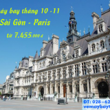 Giá vé máy bay TP Hồ Chí Minh đi Paris tháng 10, 11 từ 7.455k